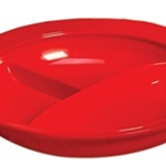 3-Compartment Divided Plate, Red