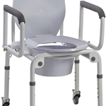 Steel Drop-Arm Commode with Wheels and Padded Armrests 2/cs