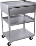 stainless steel carts: three-shelf cart with drawer 16